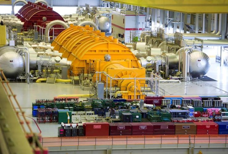 Steam turbines, Darlington nuclear facility, Courtice, Ontario,