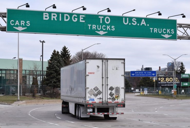 Transport trucks, border crossing, Windsor,