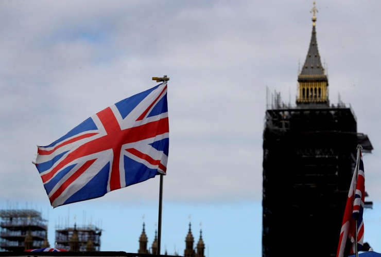 Union flag, Big Ben, London,