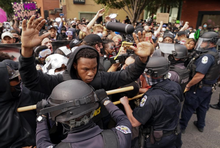 Police, protesters, demonstration,