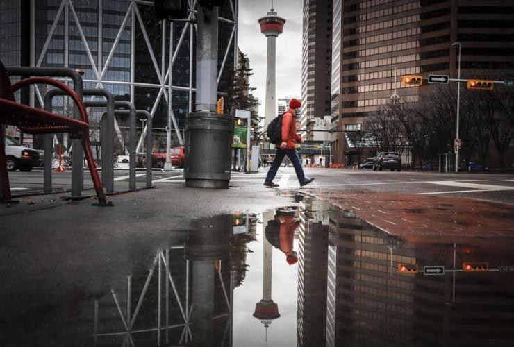 pedestrian, mask, walks, Calgary,