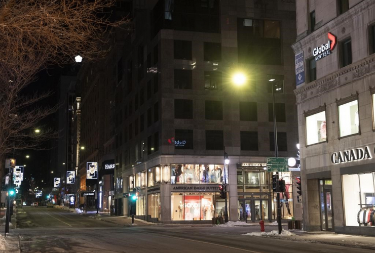Peel and Sainte-Catherine street,