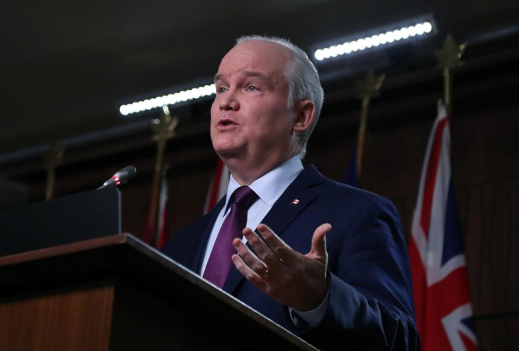 Conservative Party leader Erin O'Toole speaks at a press conference in Ottawa on Tuesday, Feb. 16, 2021.