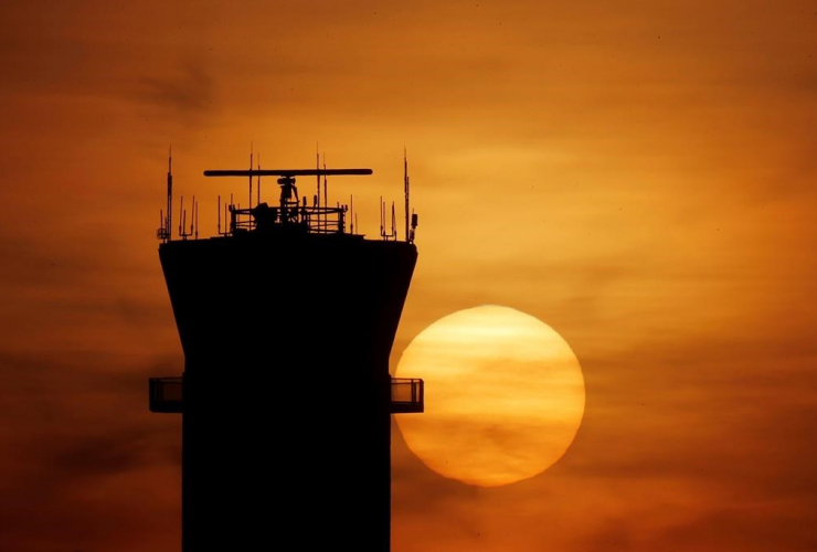 sun set, FAA Control Tower, Chicago, Midway International Airport,