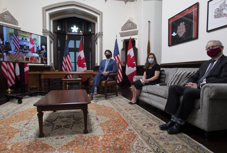Justin Trudeau, Chrystia Freeland, Marc Garneau, Joe Biden,