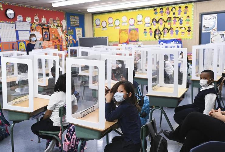 Children, masks, classroom, St. Barnabas Catholic School,