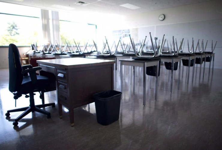 teacher's desk, empty classroom,