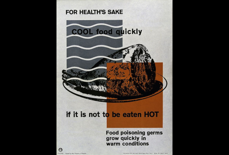 """Poster reading: """"For health's sake cool food quickly if it is not to be eaten hot. Food poisoning germs grow quickly in hot conditions."""""""