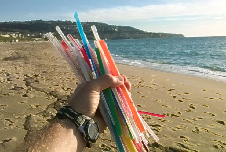 A fistful of 50 plastic straws found littered on the beach