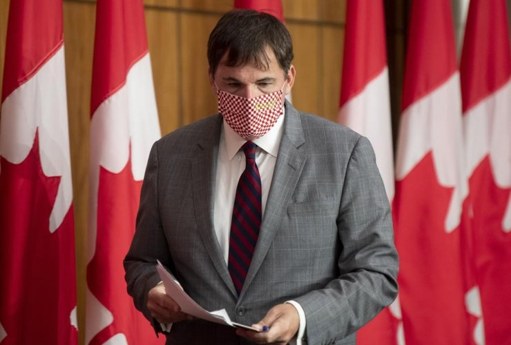 A man in a mask holding papers walks in front of a row of Canadian flags