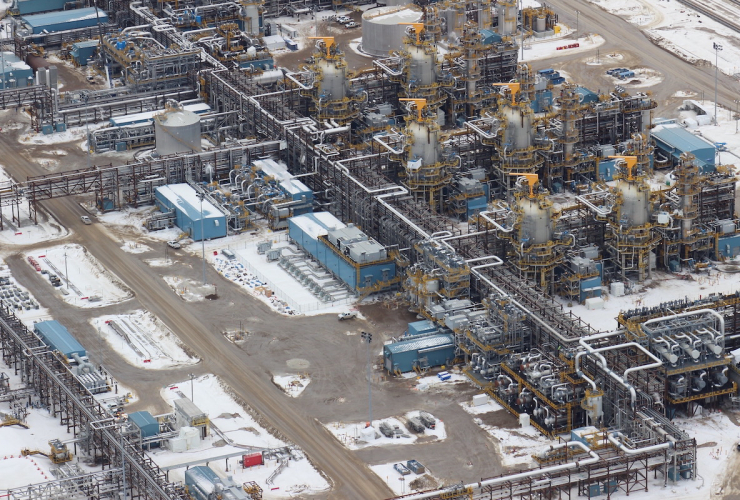An aerial view of oilsands machinery