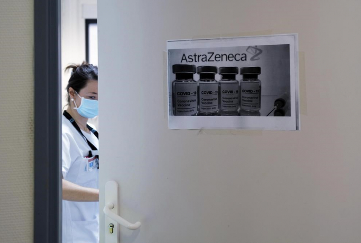 health worker, AstraZeneca/Oxford vaccine, Edouard Herriot hospital, France,