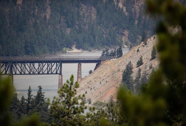 rail bridge, Fraser River, wildfire, Lytton,