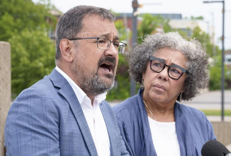 Andrés Fontecilla and Marjorie Villefranche comment after a Montreal police officer was recorded on video kneeling on the neck of a Black 14-year-old and pressing his face into the sidewalk, in Montreal on July 8, 2021. Photo by The Canadian Press/Paul Ch