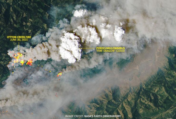 NASA Satellite photo of Lytton Creek wildfire, B.C.