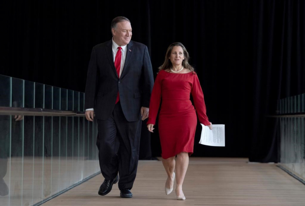 Canadian Foreign Affairs Minister Chrystia Freeland, US Secretary of State Mike Pompeo,