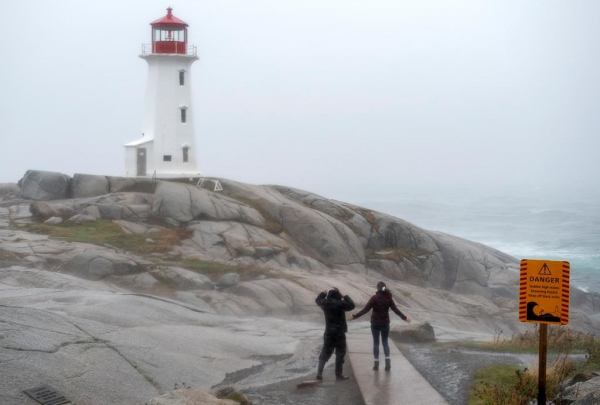 Visitors, lighthouse, Peggy's Cove,