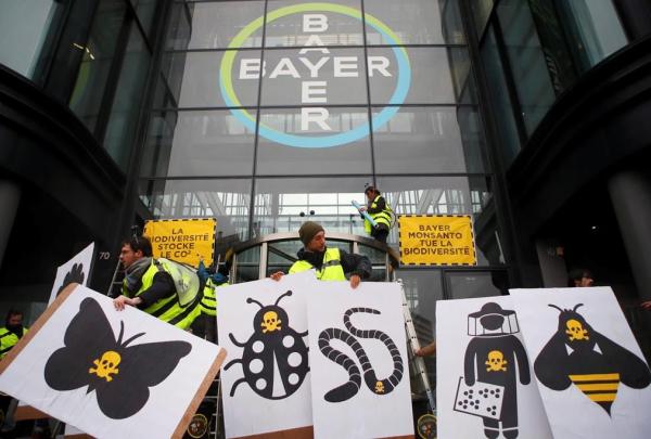 French activists of Attac, Paris headquarters, Bayer AG, protest, la Garenne Colombes, Paris,