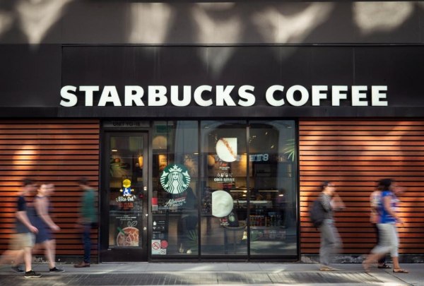 Pedestrians, walk, Toronto, Starbucks Coffee,