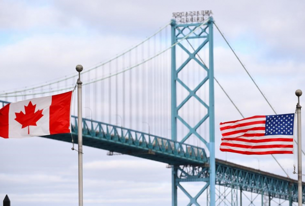Canadian and American flags, Ambassador Bridge,