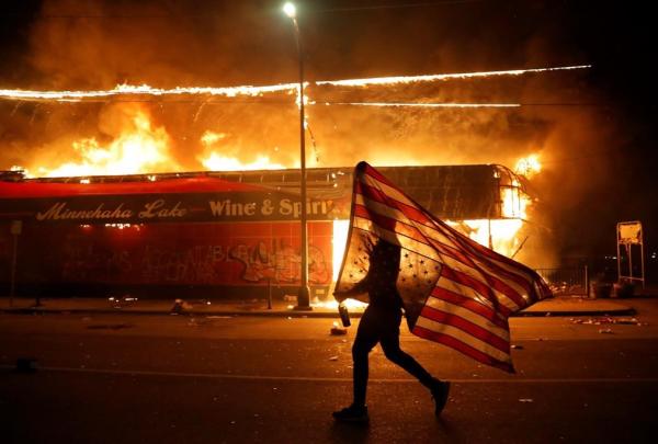 protester, U.S. flag,