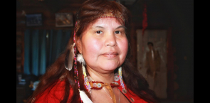Gracie Hollands of the Wet'suewet'en nation shows off her regalia.