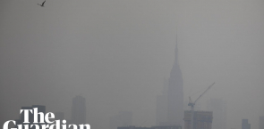 Aerial shots of New York show hazy skies from western US wildfires